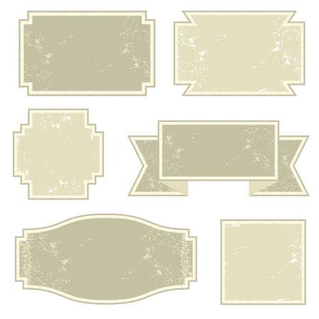 vintage light monochrome six square label set