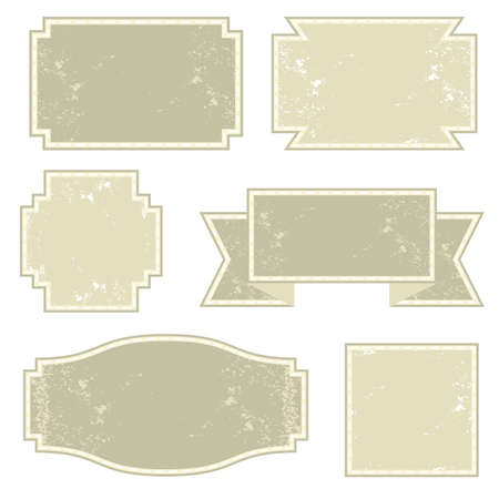 vintage light monochrome six square label set  Vector