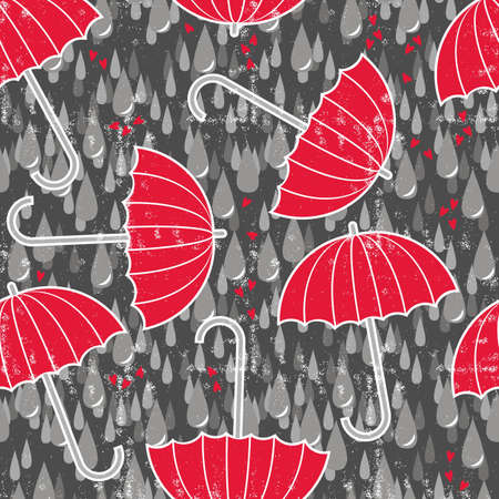 gray rain drops on messy grunge dark background with red umbrellas Vector
