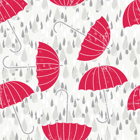 gray rain drops on messy grunge white background with red umbrellas Vector
