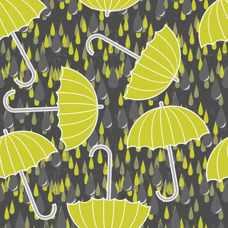 green gray rain drops on messy grunge dark background with green umbrellas Vector