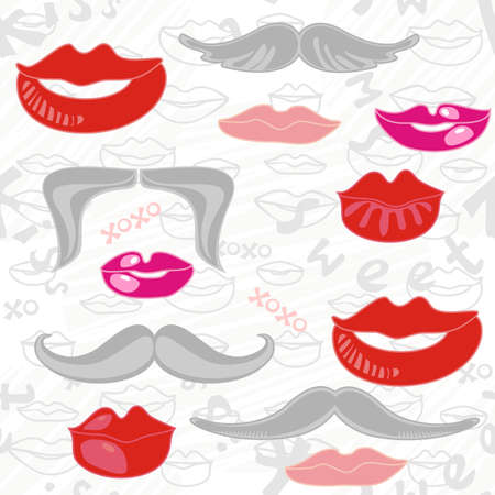 Delicate seamless pattern in pink red and gray with sweet lips dark moustaches and text on white scratched background  Vector
