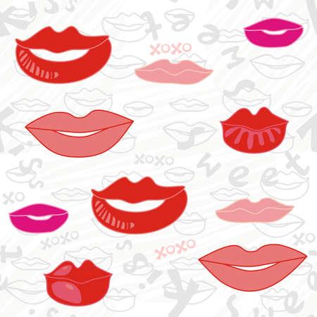Delicado patrón sin costuras en color de rosa de color rojo y gris de labios dulces y texto sobre fondo blanco rayado Ilustración de vector