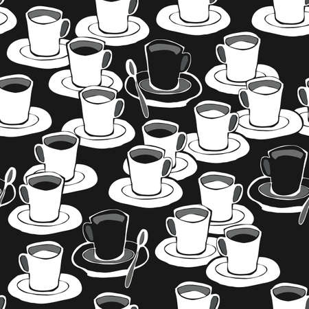 black coffee white coffee black and white seamless pattern on dark  Stock Vector - 16533991