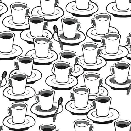 black coffee white coffee black and white seamless pattern on white  Stock Vector - 16533985