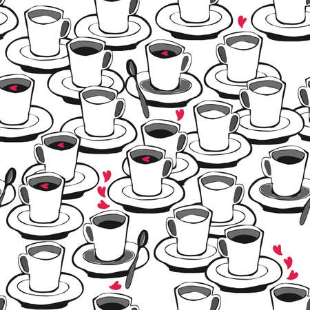 valentines day coffee with red hearts black and white seamless pattern on white  Stock Vector - 16533986