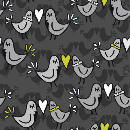 green gray lovely abstract seamless pattern with kissing birds on dark background  Vector
