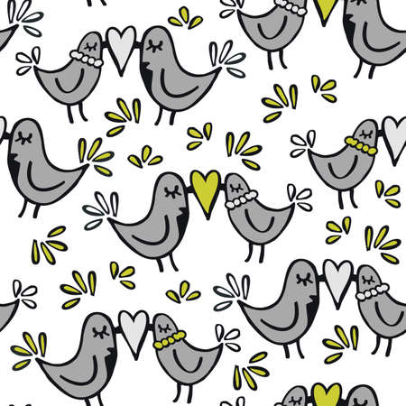 green gray lovely abstract seamless pattern with kissing birds on white background