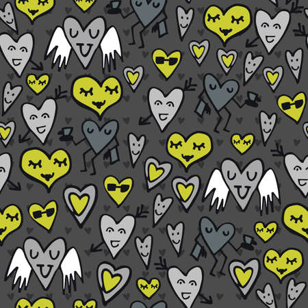 green gray lovely abstract seamless pattern with funny hearts on dark background  Stock Vector - 16533994