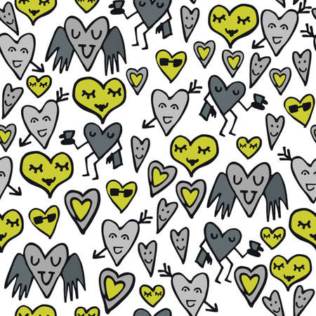 green gray lovely abstract seamless pattern with funny hearts on white background Stock Vector - 16533982