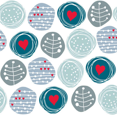 gentle: delicate floral blue retro pattern with orange hearts on circles on white background
