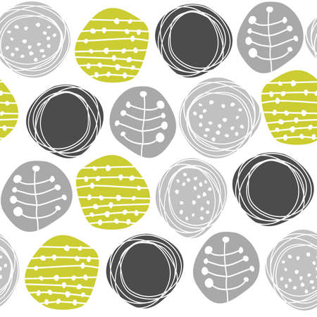 delicate floral gray green retro pattern with patterned circles on white background Stock Vector - 16533975