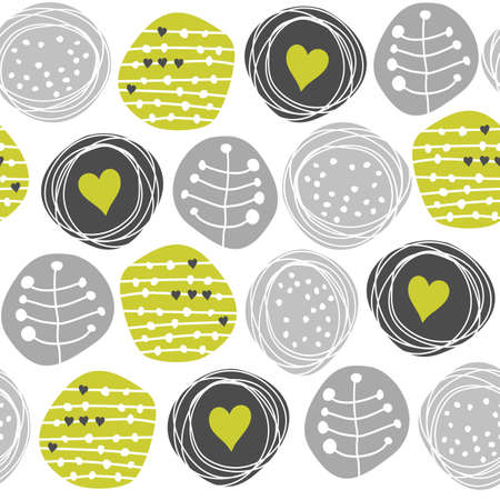 delicate floral gray green retro pattern with hearts on circles on white background  Illustration