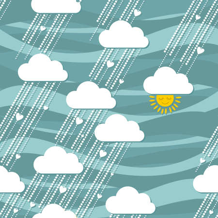 sunny rain of hearts seamless pattern  Vector