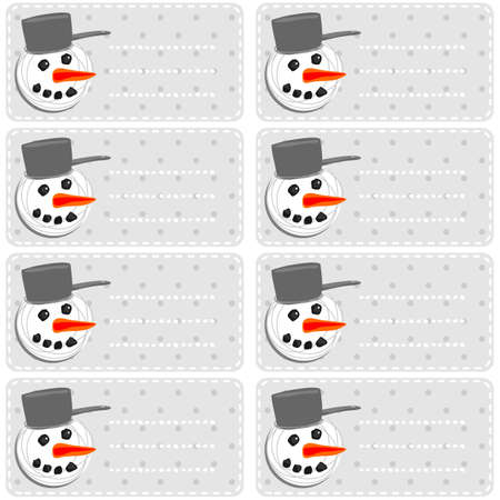 gray polka dots background with snowman and snowballs winter holidays sticker set Stock Vector - 16665839