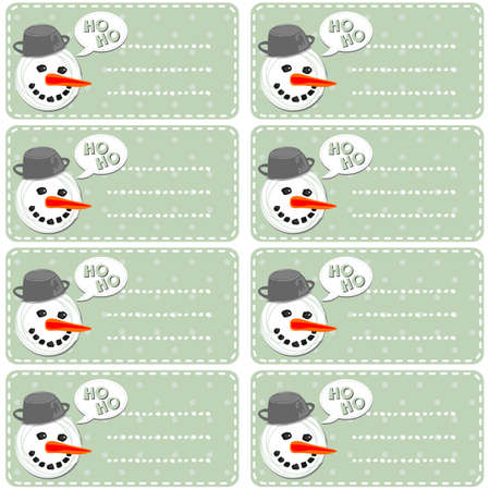 retro blue polka dots background with snowman and snowballs winter holidays sticker set Vector