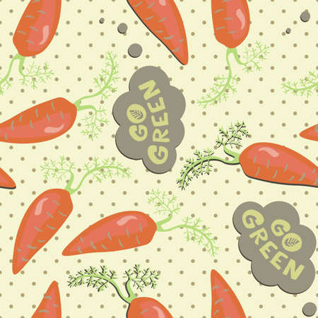 go green cute orange fresh carrots on polka dots seamless pattern on beige background Stock Vector - 16701016