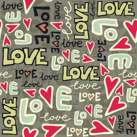 love retro colors graffiti seamless pattern on dark  Illustration