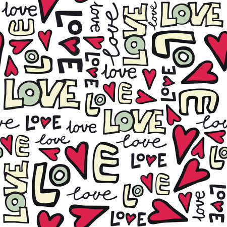 love card: love retro colors graffiti seamless pattern on white