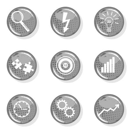 monochrome gray business target growth development time research idea set on white background Stock Vector - 16803930