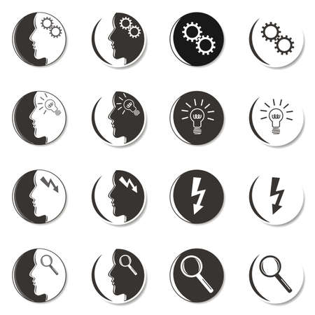 monochrome gray business idea people faces set on white background  Vector