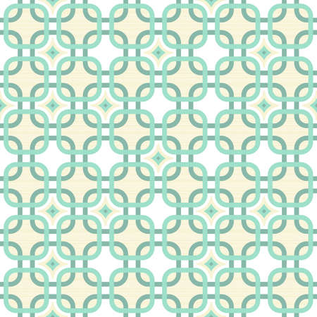 round corner squares with diamond elements in turquoise and beige geometric seamless pattern  Vector