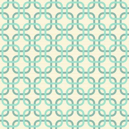 アクアマリン: ターコイズ ブルーとベージュの幾何学的なシームレス パターンのコーナーの正方形をラウンドします。