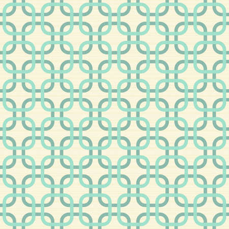 turquoise background: round corner squares in turquoise and beige geometric seamless pattern