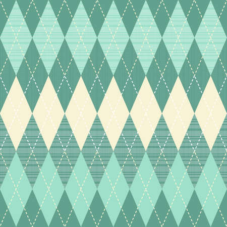 traditional argyle diamond pattern in turquoise and beige  Vector
