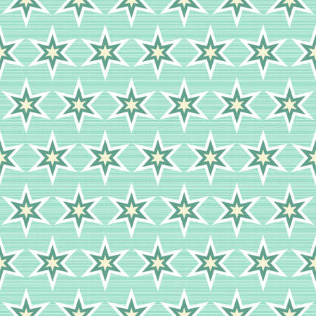 white star line: multicolor stars in rows on turquoise background seamless pattern  Illustration