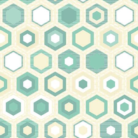 turquoise hexagon tiles on light beige retro seamless pattern