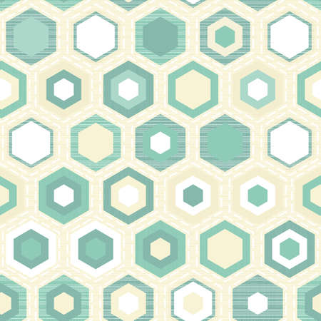 turquoise hexagon tiles on light beige retro seamless pattern