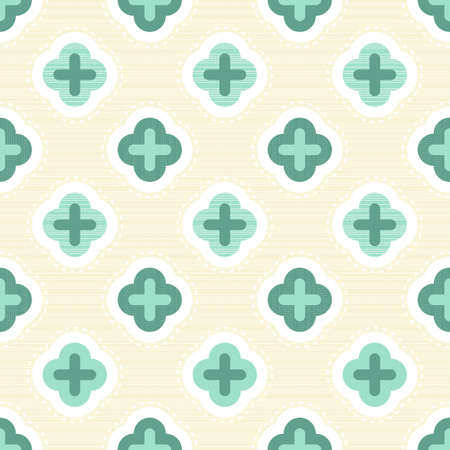 clover backdrop: turquoise clover elements on light beige retro seamless pattern  Illustration