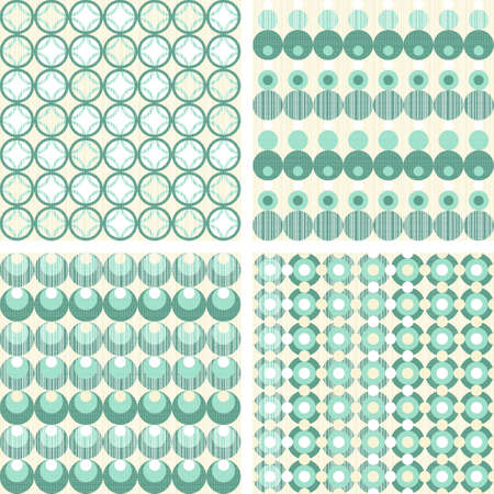 turquoise beige circles and dots scrapbook paper set  Stock Vector - 16803910