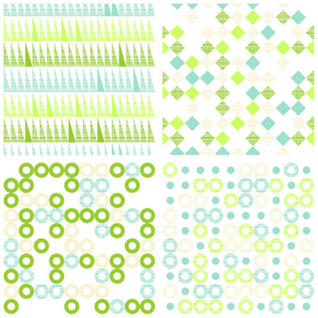 set of seamless retro geometric paper patterns in green white and turquoise squares triangles and circles