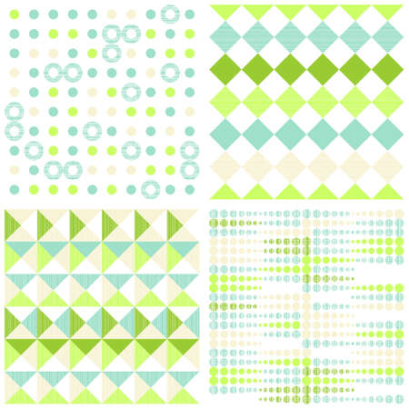 set of seamless retro geometric paper patterns in green white and turquoise squares dots and circles  Vector