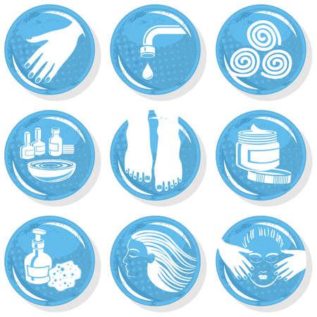 bodycare: spa shiny monochrome button set manicure pedicure hair treatment