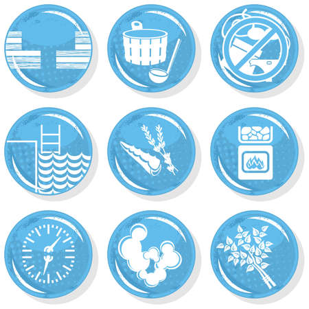 spa shiny monochrome button set sauna  Vector