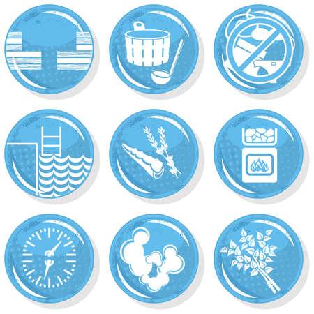 papering: spa shiny monochrome button set sauna  Illustration