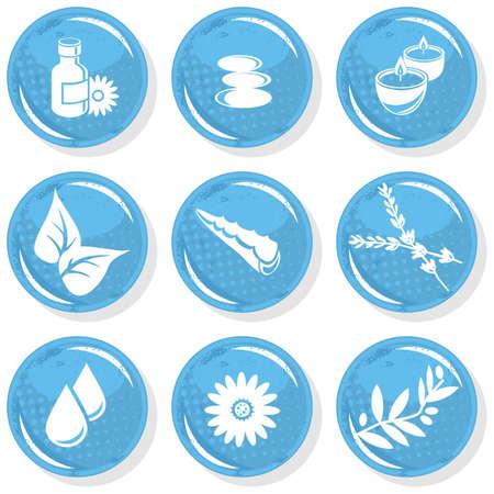 aloe vera plant: spa shiny monochrome button set smell elements  Illustration