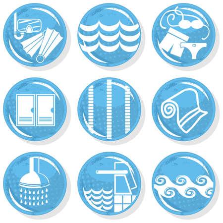 spa shiny monochrome button set swimming activity  Stock Vector - 16803931