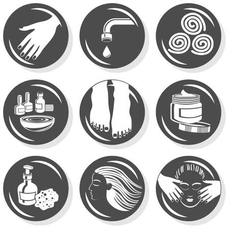 spa flat gray monochrome button set manicure pedicure hair treatment  Vector