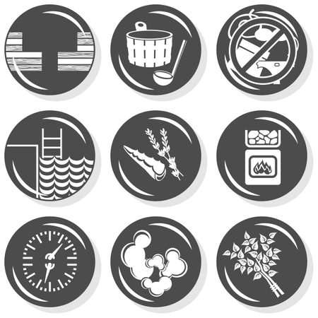 spa flat gray monochrome button set sauna  Vector