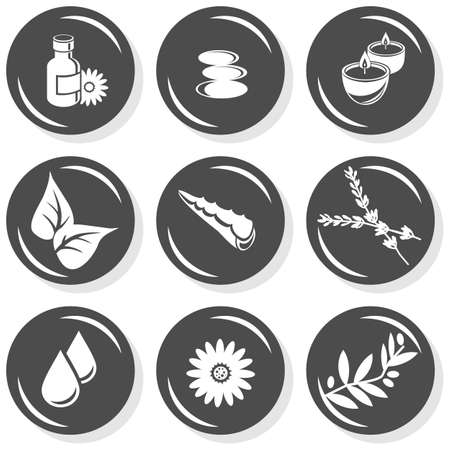 herbals: spa flat gray monochrome button set smell elements  Illustration