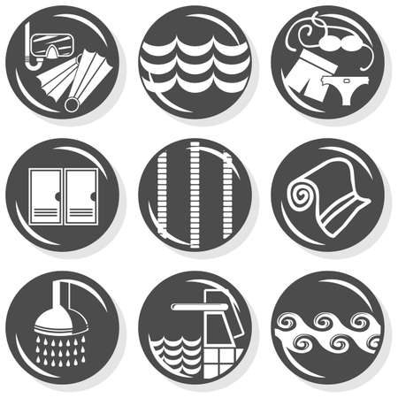 changing room: spa flat gray monochrome button set swimming activity