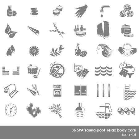 36 Piscine sauna spa relax soins du corps monochrome jeu d'icônes isolé sur fond blanc