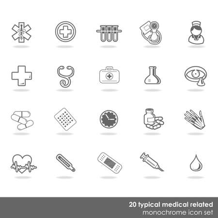 breathable: 20 typical medical icon set isolated on white background