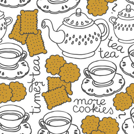 five o'clock: tea time seamless pattern with porcelain and cookies on white background Illustration