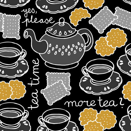 tea time seamless pattern with porcelain and cookies on dark background Vector