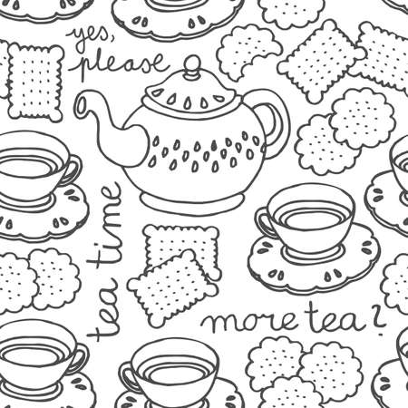 afternoon fancy cake: tea time monochrome seamless pattern with porcelain and cookies on white background
